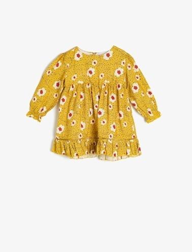 Koton Kids Çiçekli Elbise Sarı